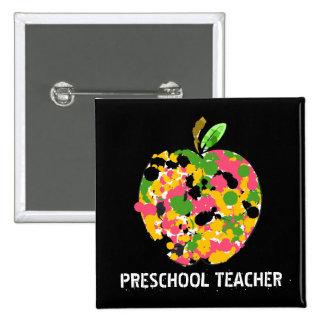 Preschool Teacher Paint Splatter Apple Button