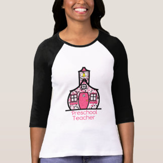Preschool Teacher Paint Splatter Schoolhouse T-Shirt