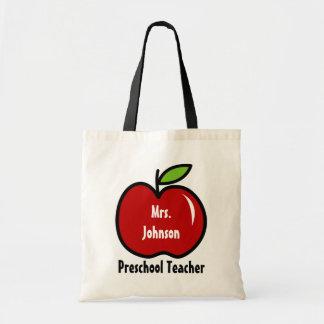 Preschool teacher tote bag | Personalize red apple