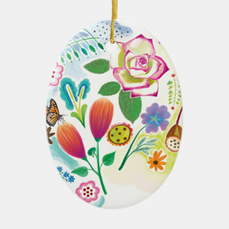 present for her, floral illustration ceramic oval decoration