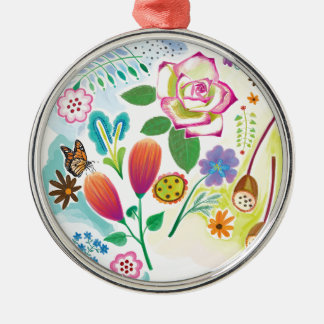 present for her, floral illustration Silver-Colored round decoration