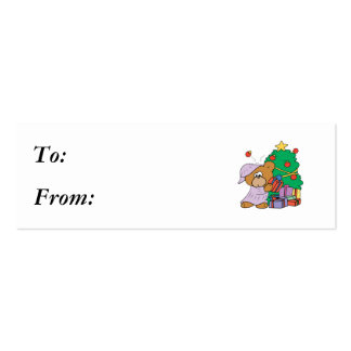 Present Peeking Christmas Bear Pack Of Skinny Business Cards