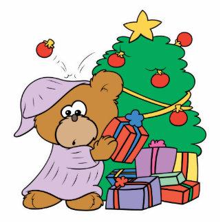 Present Peeking Christmas Bear Standing Photo Sculpture