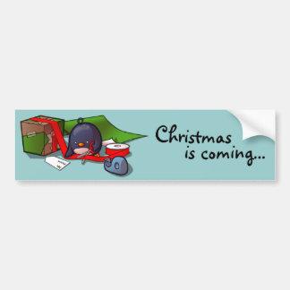 Present-Wrapping Penguin Bumper Sticker