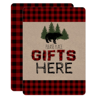 Presents Table Sign - Lumberjack Party Card