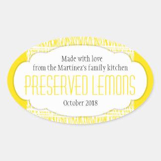 Preserved lemons oval food label sticker