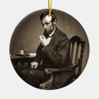 PRESIDENT ABRAHAM LINCOLN 1862 STEREOVIEW CERAMIC ORNAMENT