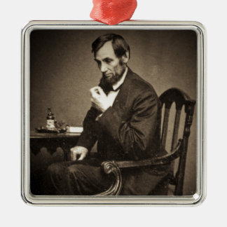 PRESIDENT ABRAHAM LINCOLN 1862 STEREOVIEW Silver-Colored SQUARE DECORATION