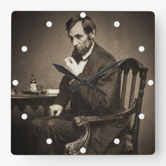 PRESIDENT ABRAHAM LINCOLN 1862 STEREOVIEW SQUARE WALL CLOCK