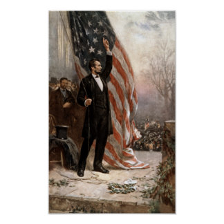 President Abraham Lincoln Giving A Speech Poster