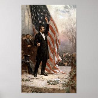 President Abraham Lincoln Giving A Speech Poster