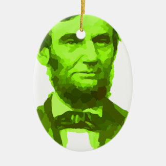 PRESIDENT ABRAHAM LINCOLN GREEN FACE PORTRAITGifts Ceramic Oval Decoration