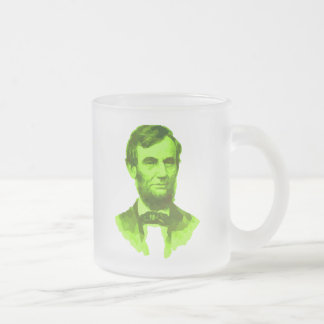PRESIDENT ABRAHAM LINCOLN GREEN FACE PORTRAITGifts Frosted Glass Mug
