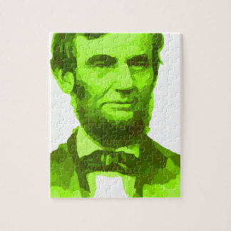 PRESIDENT ABRAHAM LINCOLN GREEN FACE PORTRAITGifts Puzzles