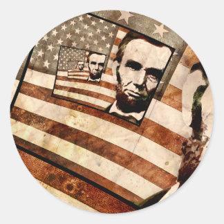 President Abraham Lincoln Patriotic Flag Round Sticker