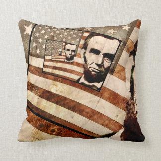 President Abraham Lincoln Patriotic Flag Throw Cushions