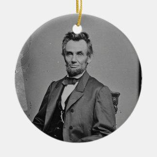 President Abraham Lincoln Portrait by Mathew Brady Round Ceramic Decoration