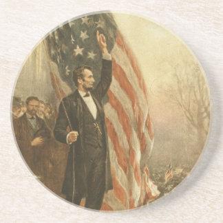 President Abraham Lincoln Under the American Flag Sandstone Coaster