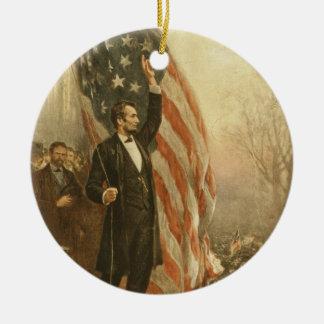 President Abraham Lincoln Under the American Flag Round Ceramic Decoration