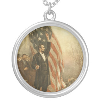 President Abraham Lincoln Under the American Flag Round Pendant Necklace