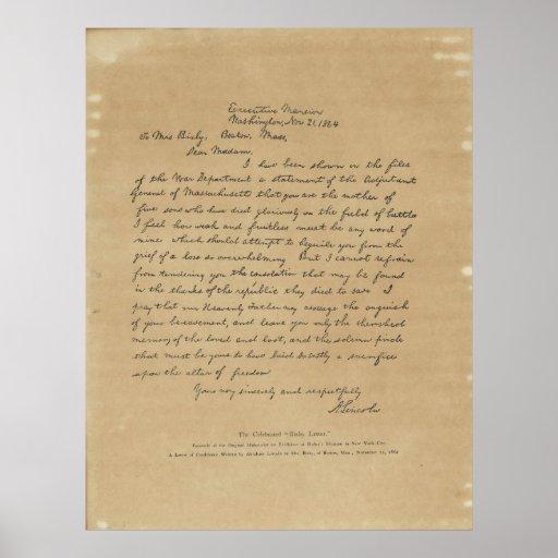 President Abraham Lincoln's Letter to Mrs. Bixby Print