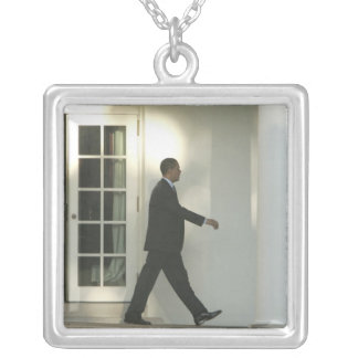 President Barack in deep thought as he walks Square Pendant Necklace