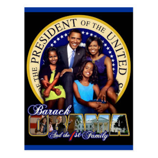 PRESIDENT BARACK OBAMA AND FAMILY POSTCARD