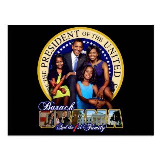 PRESIDENT BARACK OBAMA AND FAMILY POSTCARD