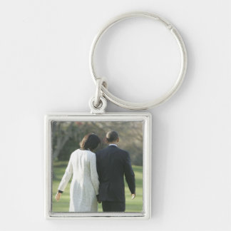 President Barack Obama and First Lady Michelle Silver-Colored Square Key Ring