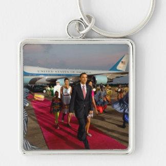 President Barack Obama & Family Silver-Colored Square Key Ring