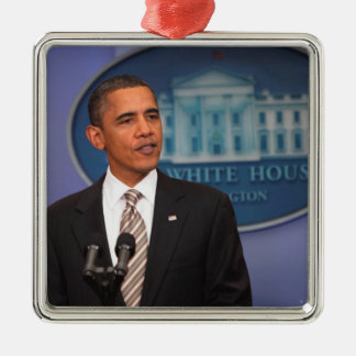 President Barack Obama makes an announcement Metal Ornament