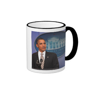 President Barack Obama makes an announcement Ringer Mug