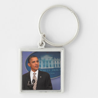 President Barack Obama makes an announcement Silver-Colored Square Key Ring