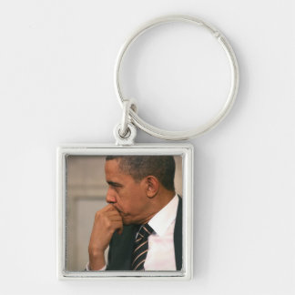President Barack Obama meets with President Silver-Colored Square Key Ring