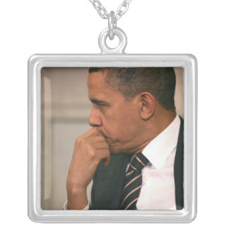 President Barack Obama meets with President Square Pendant Necklace