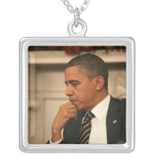President Barack Obama reflects as he meets Square Pendant Necklace