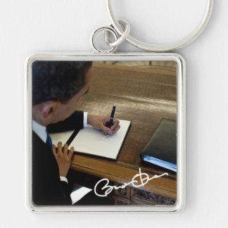President Barack Obama Silver-Colored Square Key Ring