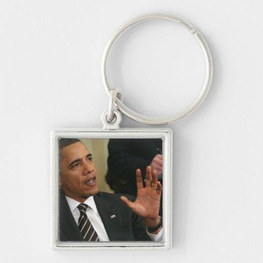 President Barack Obama talks to the press Key Chain