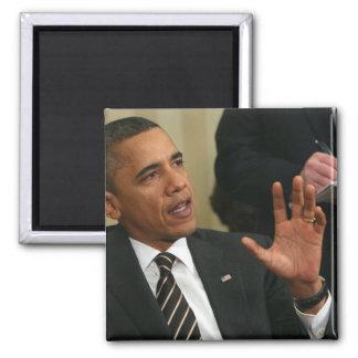 President Barack Obama talks to the press Magnet