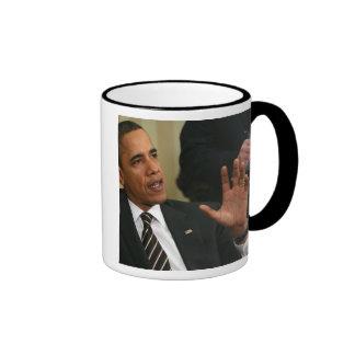 President Barack Obama talks to the press Ringer Mug