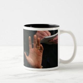 President Barack Obama talks to the press Two-Tone Coffee Mug