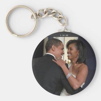 President Barack Obama & the 1st L... - Customized Basic Round Button Key Ring