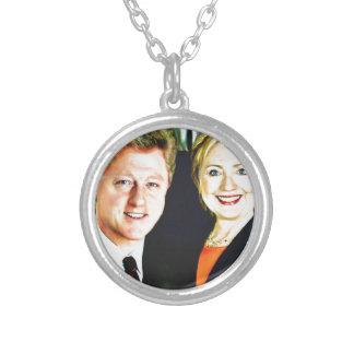 President Bill Clinton & President Hillary Clinton Silver Plated Necklace
