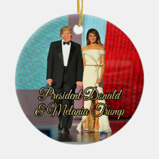 President Donald Trump & Melania Photo Ceramic Ornament