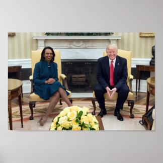 President Donald Trump With Condoleeza Rice Poster
