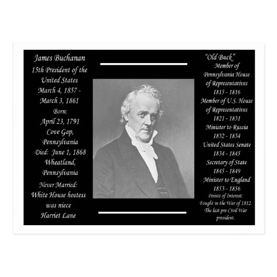 President James Buchanan Postcard