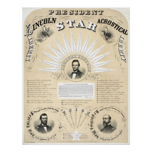 President Lincoln Acrostic Star 1864 Poster