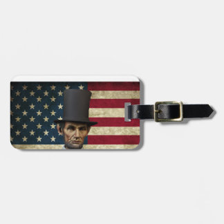 president lincoln luggage tag