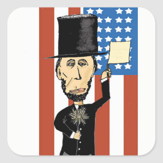President Lincoln Rectangle Stickers, Glossy Square Sticker