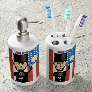 President Lincoln Toothbrush Holder and Soap Set
